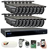 GW Security 16-Channel 2.5K HD (5MP) Complete Security System with (16) x True HD 5MP 1920P Outdoor/Indoor 2.8-12mm Varifocal Zoom Bullet Security Cameras and 4TB HDD, QR Code Scan Free Remote View