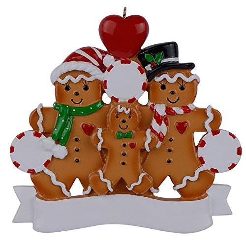 WorldWide Personalized Ornament Gingerbread Family ()