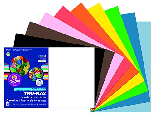 Pacon Tru-Ray Construction Paper, 12-Inches by 18-Inches, 50-Count, Assorted - Ray Color