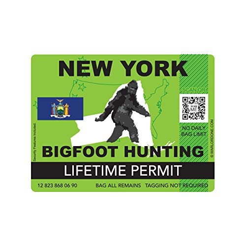 fagraphix New York Bigfoot Hunting Permit Sticker Die Cut Decal Sasquatch Lifetime FA Vinyl - 4.00 Wide