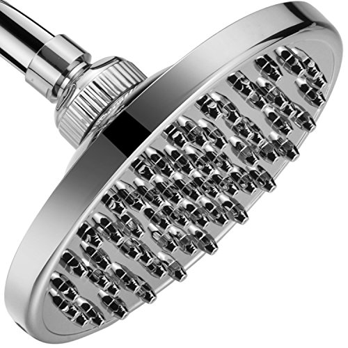 MegaRain Rainfall High Pressure 6 inch Shower Head by AquaSpa - Angle Adjustable Solid Brass Ball Joint - 60 Jets - Full Chrome Finish - Excellent Performance at High or ()