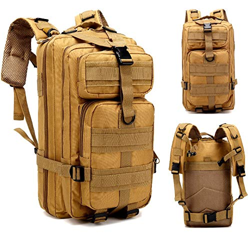 Jipemtra Tactical First Aid Bag MOLLE EMT IFAK Pouch Trauma First Aid Responder Medical Backpack Utility Bag Military Tactical Backpack Emergency Small Army Rucksack (Khaki Backpack 30L)
