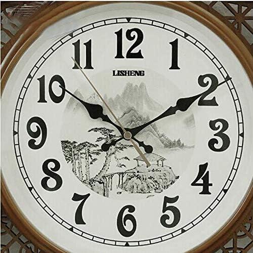 KUQIQI 時計、中国の扇形の純木の壁掛け時計、サイレントクリエイティブリビングルームの壁掛け時計、クォーツ振り子時計、中国風の時計掛け時計、24インチ (Size : Light wood)