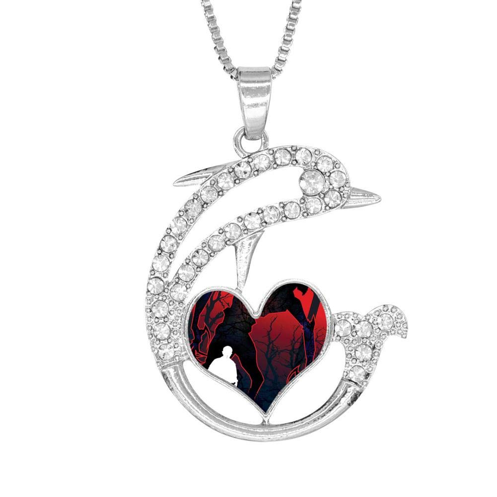 H-Beufun Jumping Dolphin Love Heart Pendant Necklace Stranger 3D Printed Jewelry