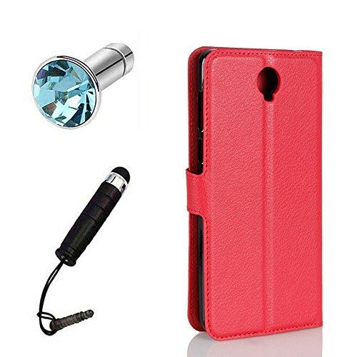 Lusee® PU Caso de cuero sintético Funda para Cubot Max 4G 6.0 Pulgada Cubierta con funda de silicona azul rojo