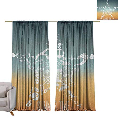 (berrly Tie Up Shades Rod Blackout Curtains Starfish,Summer Time Travel Icons Adventure Journey Retro Vintage Concept, Slate Blue Orange White W72 x L108 Adjustable Tie Up Shade Rod Pocket Curtain)