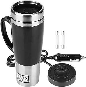 Qiilu 450ml Electric Car Cup Travel Heating Mug, Stainless Steel Car Heated Cup, Travel Heating Cup Coffee Tea Drinking Cup Mug, Travel Electric Mug Kettle Cup - 450ml