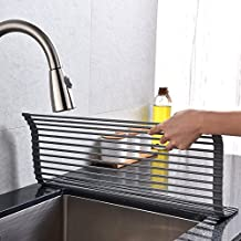 VCCUCINE Modern Extra Large Roll Up Dish Drying Rack, Kitchen Countertop Sink Stainless Steel Drying Drainer Rack Warm Gray
