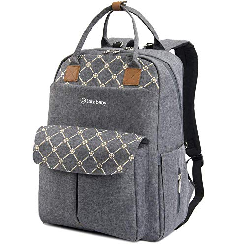 Lekebaby Large Diaper Bag Backpack With Changing Pad And Stroller Straps Multifunction Baby Travel Backpack Grey Buy Online In Fiji At Desertcart