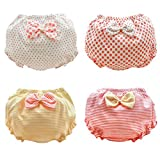 Beide Baby Girls Cotton Ruffle Bowknot Shorts 4-Pack(color1,3-4T)