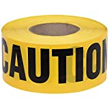 "Pioneer V6310140-O/S ""Caution"" Safety Barricade Tape, Indoor/Outdoor Black on Yellow Background, 3' X 200'"