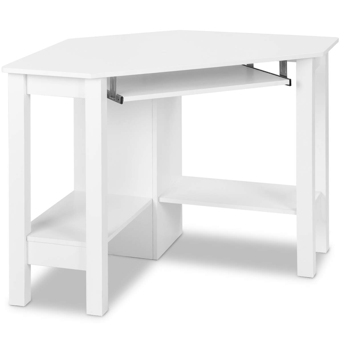 Tangkula Corner Desk Corner Computer Desk Wood Compact Home Office Desk Laptop PC Table Writing Study Table Workstation with Smooth Keyboard Tray & Storage Shelves