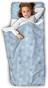 Winter Kids Nap Mat Cold Weather in Winter New Year`s Eve Traditional Holiday Christmas Stars for Preschool, Daycare, Kindergarten Baby Blue Grey White 43X21 INCH
