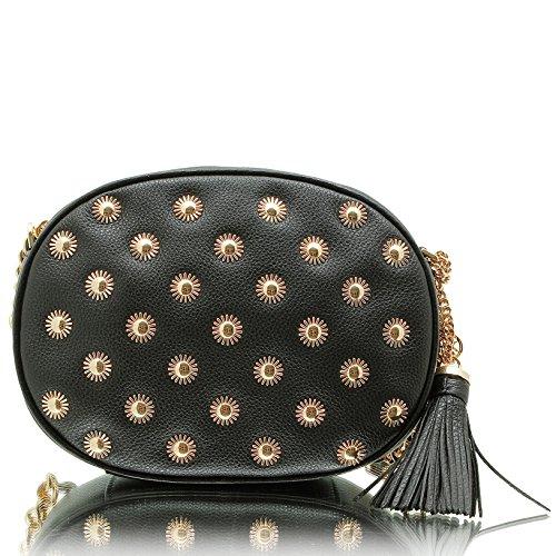 MICHAEL Michael Kors Women's Medium Ginny Messenger Bag with Starbust Hardware, Black, One Size by MICHAEL Michael Kors
