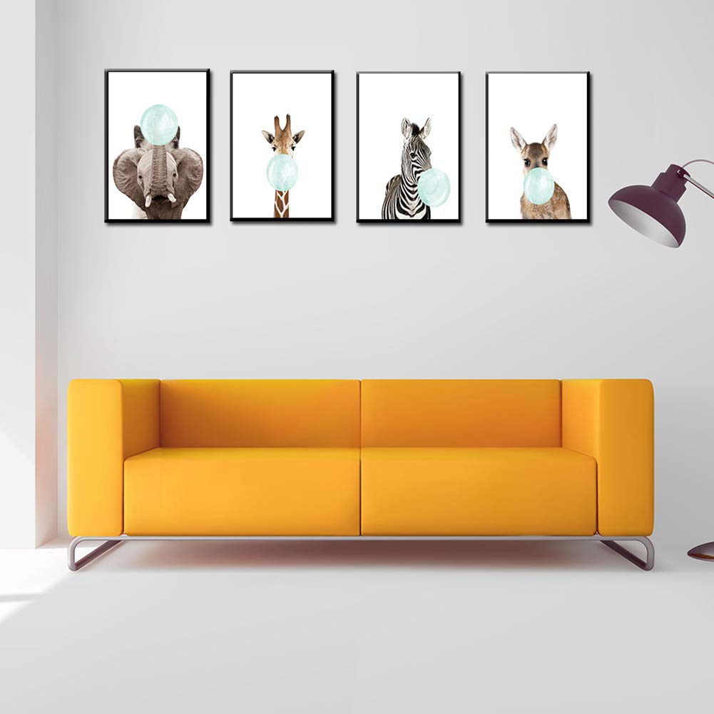 dds5391 Elegant Nordic Animal Bubble Canvas Painting Wall Art Picture Creative Kids Room Decor - 5# 3040cm