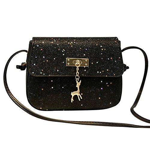 Womens Crossbody Bag Hosamtel Lady Students PU Leather Deer Decor Sequins Purse Shoulder Bag Messenger Bag (Black)