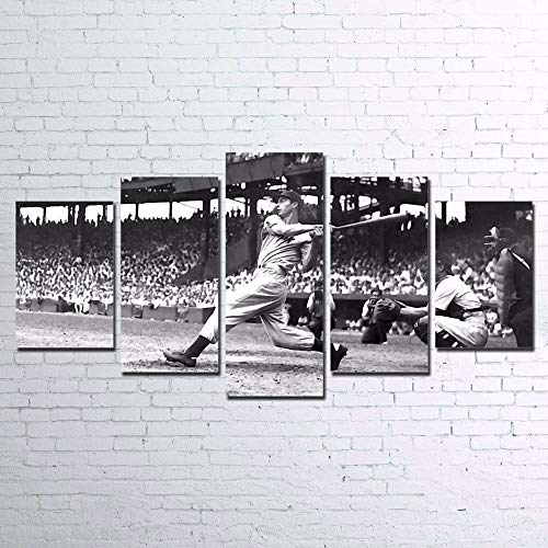 LAKHAFZY Frame Canvas Poster Home Decor Wall Art Sports Pictures 5 Pieces Baseball Player Vintage Paintings HD Prints Room