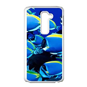 Bright Blue Fish White Phone Case for LG G2 Case