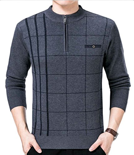 Discount Alion Men Round Neck Half Zipper Front Long Sleeve Knitted Pullover Sweater