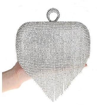 Mejor a comprar® borla Rhinestone dedo anillo noche bolsas de diamantes boda bolsos mujer día embrague Mini bolso cartera con cadena Mixed Color - Plata: ...
