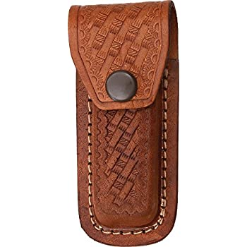 "Leather Belt Pouch Sh1092 Dark Brown Embossed Basketweave For 3.5/""-4/"" Knives"