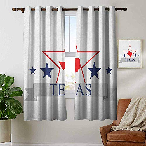 petpany Window Curtains Texas Star,San Antonio Dallas Houston Austin Map with Stars Pattern USA, Navy Blue Vermilion Pale Grey,Tie Up Window Drapes Living Room 42