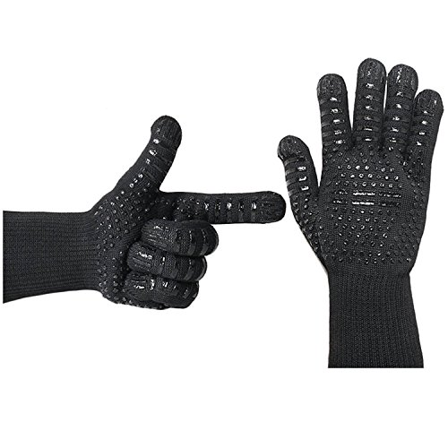 Feezzy BBQ Gloves 932°F Extreme Heat Resistant Oven Gloves For Cooking, Grilling, Baking - Extra Long Cuff(Black) ()