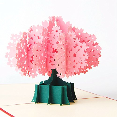 Cherry Laser Paper - Paper Spiritz Cherry Blossom Pop up Birthday Cards for Women Men Boys Kids - Laser Cut 3D Pop up Card Thank You Flowers Anniversary all Occasion for Mother Father Sister with Envelope