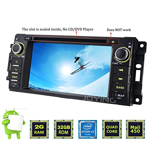 JOYING Android 6.0 Radio 2GB Car Stereo GPS Navigation Head Unit for Jeep Wrangler Chrysler Dodge Ram Challenger Single Din Touch Screen without DVD Player