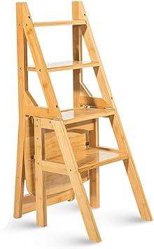 3 Pasos Escalera Taburete-Transformación creativa Plegado Pliegue en la Biblioteca Pasos Escalera de acceso Silla Cocina Uso de bambú natural (color : Color de la madera): Amazon.es: Bricolaje y herramientas