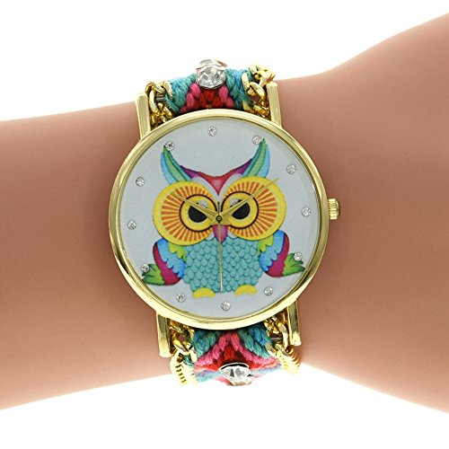 LinTimes 3D Adjustable Woven Strap Bracelet Watch with Owl Clock Dial
