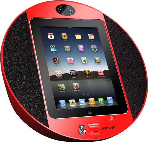 Pyle Home PIPDSP2R Touch Screen Dock with Built-In FM Radio/Alarm Clock for iPod, iPhone and iPad (Red) by Pyle