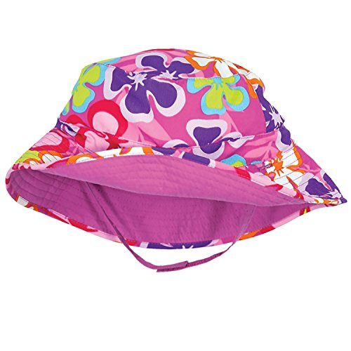 Luau Pink and Purple Floral Baby Girl Reversible Sunhat by Sun Smarties - (Floral Reversible Hat)