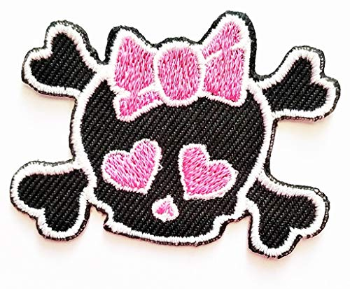 - PP Patch Mini Lovely Pretty Skull Crossbones Girl with Pink Bow Punk Rock Embroidered Iron on Patch Jackets Jeans Dress Shoes Bags Clothings Vests Scarf Hat