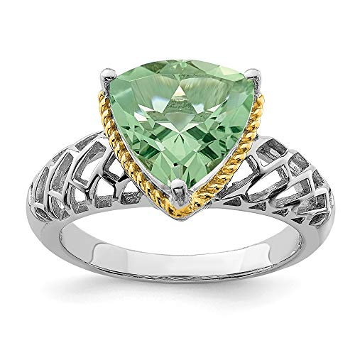 925 Sterling Silver Rhodium with Flash Gold-plate Green Quartz Ring
