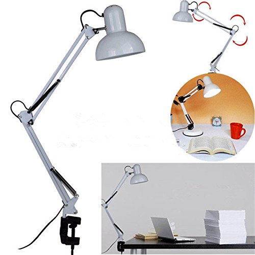 Adjustable Swing Arm Bedside Lamp Clamp-On Study Reading Desk Table - Outlet Long Malls Island