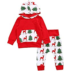 GRNSHTS Baby Girls Boys Christmas Pocket Hoodie Pants Set Hoodie Tops + Pants (80 / 6-12 Months, Deer and Christmas tree)