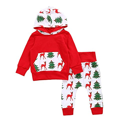 GRNSHTS Baby Girls Boys Christmas Pants Set Pocket Hoodie + Pants
