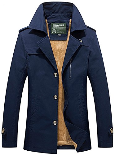 Military Blue Winter Blazer Thick Velvet Cotton Jacket Uk5792z Windbreaker JIINN Plus Mens Outdoor Trench Parka Coat Warm gwSzTIaxq