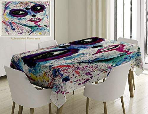 Unique Custom Cotton And Linen Blend Tablecloth Girly Decor Grunge Halloween Lady With Sugar Skull Make Up Creepy Dead Face Gothic Woman Artsy Print BTablecovers For Rectangle Tables, 60 x -