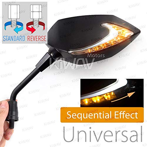 (Motorcycle Two-Tone LED with Sequential Effect Neat Stem Mirrors Lucifer Black for Metric 10mm YAMAHA Magazi)
