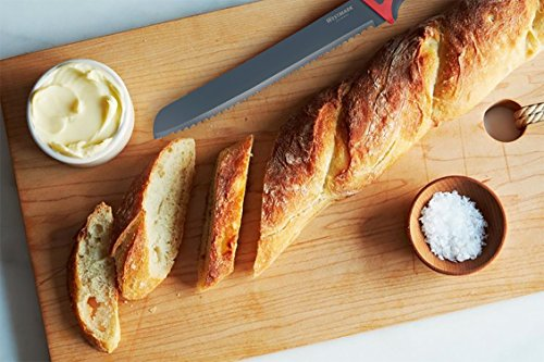 Westmark Non-Stick Bread Knife with Cover, 7.8-inch (Red/Black) 5 GERMAN ENGINEERED HIGH QUALITY KITCHENWARE: Westmark's Bread Knife is among the best in the world and is rated to be one of the best kitchenware brands available today. MATERIAL: Each product is made using a high quality stainless steel blade with a polypropylene handle. Included is a thermoplastic elastomeric knife cover to protect you and your knife. See below for more details. EASY AND READY TO USE: This easy to use product can thoroughly cut through any kind of bread, fruit, vegetable, meat and much more!Equipped with an ergonomic handle, Westmark's product ensures a secure grip making the bread knife efficient and comfortable to use.