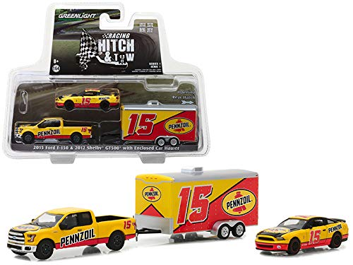 StarSun Depot 2015 Ford F-150 2012 Shelby GT500 Pennzoil Enclosed Car Hauler Racing Hitch & Tow Series 1 1/64 Diecast Models Greenlight