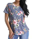 VYNCS Women Casual Floral Print Blouses Tops Short Sleeve Round Neck T Shirt Blouse Tee with Curved Hem (Grey, Medium)