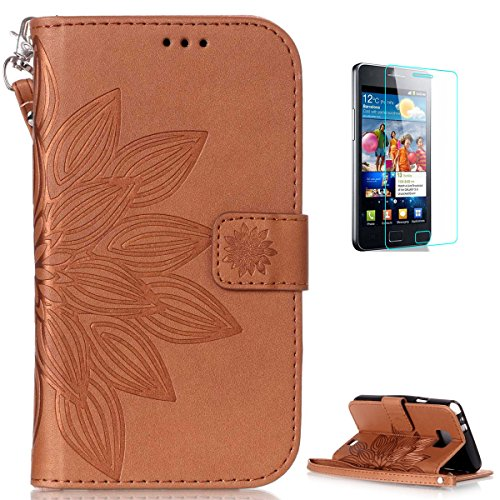 Samsung Galaxy S2 i9100 Leather Wallet Case [with Free Screen Protector],KaseHom Mandala Lotus Flower Embossed Folio Magnetic Flip Stand PU Leather Protective Case Cover Skin Shell,Brown #2 (S2 Aztec Samsung Case Galaxy)