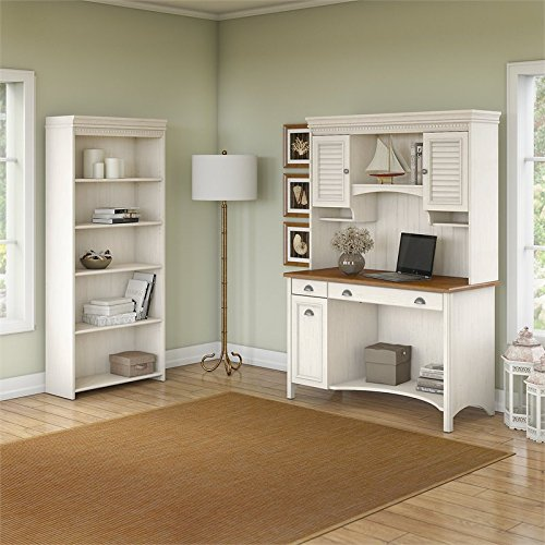 Bush Furniture Stanford Computer Desk with Hutch and 5 Shelf Bookcase in Antique White