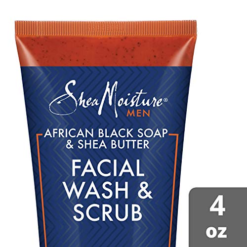 Shea Moisture African Black Soap & Shea Butter Facial Wash & Scrub Cleansing for Men, 4 Ounce (African Black Soap Facial Wash Scrub Exfoliator)