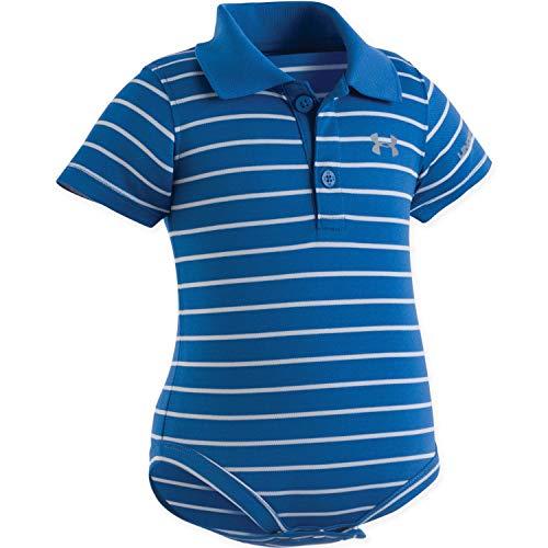 Under Armour Baby-Boys Newborn Yarn Dye Polo Bodysuit (9-12 Months, Moroccan Blue (27E90010-42) / Cool Grey/Reflective Silver)
