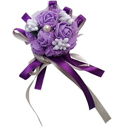 Steen Pack of 1 - Bridal Bridesmaid ribbon Wrist flower Wrist Corsage - foam roses fake flowers for decoration