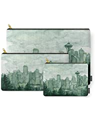 Society6 Seattle Skyline Watercolor Space Needle Green Painting Carry-All Pouch